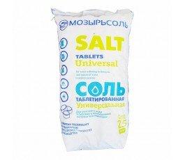 Соль таблетированная Мозырьсоль Белоруссия, мешок 25 кг.
