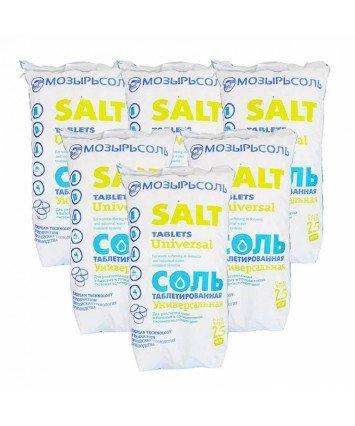 Таблетированная соль Мозырьсоль производства Белорусь, мешок 25 кг., для регенерации умягчителей воды и систем обезжелезывания воды