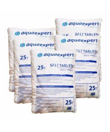 Соль таблетированная Aquaexpert производства Польша, мешок 25 кг., для регенерации умягчителей воды и систем обезжелезывания воды