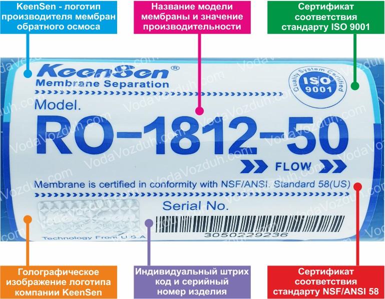 KeenSen RO-1812-50 50 GPD мембрана